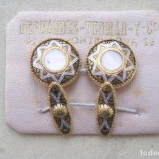 Antigüedades: PRECIOSA PAREJA DE GEMELOS VINTAGE EN CARTON ORIGINAL. Lote 87126132