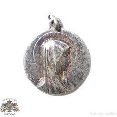 Antigüedades: MEDALLA DE PLATA VIRGEN MARIA 2,1 CM DE DIÁMETRO. Lote 87156592