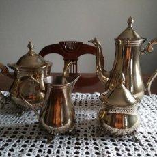 Antigüedades: JUEGO DE TE CAFE 4 PIEZAS LAS DE LAS FOTOS EN ALPACA PLATEADA INGLESA EPNS LIMPIAS Y PULIDAS. Lote 87160856