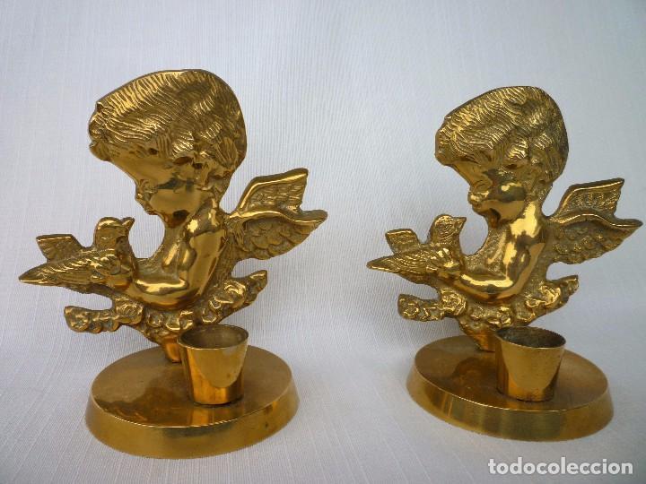 CANDELABROS, PALMATORIAS ANGELITOS DE BRONCE MACIZO 480 GRS. 12 CMS. ALTURA PERFECTOS (Antigüedades - Religiosas - Orfebrería Antigua)