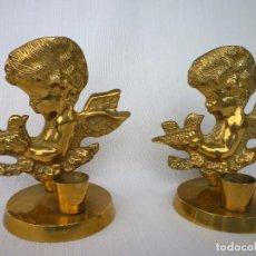 Antigüedades: PAREJA DE ANGELITOS DE BRONCE MACIZO 480 GRS. 12 CMS. ALTURA PERFECTOS. Lote 87196336