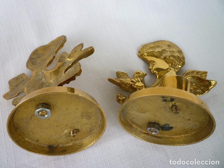Antigüedades: CANDELABROS, PALMATORIAS ANGELITOS DE BRONCE MACIZO 480 GRS. 12 CMS. ALTURA PERFECTOS - Foto 4 - 87196336