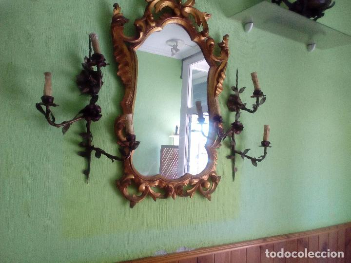 IMPRESIONANTE PAREJA DE APLIQUE CON FLORES (Antigüedades - Iluminación - Apliques Antiguos)