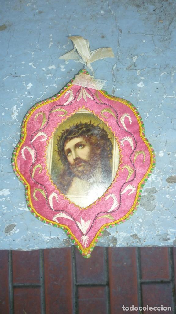 ESCAPULARIO BORDADO (Antigüedades - Religiosas - Escapularios Antiguos)