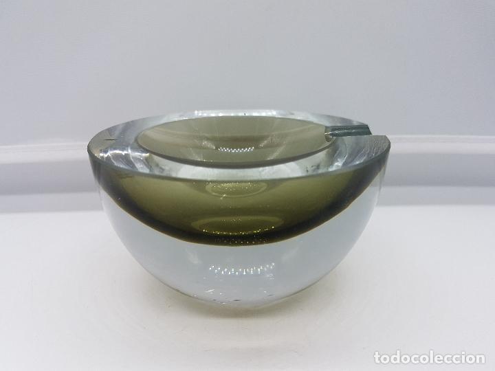 Antigüedades: Antiguo cenicero Krosno Poland en cristal de estilo art deco precioso. - Foto 6 - 87403372