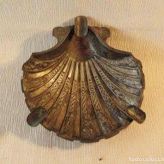 Antigüedades: CENICERO DE ALPACA. MOTIVO CAMINO DE SANTIAGO. Lote 87407080