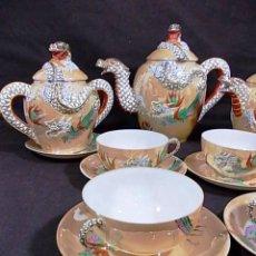 Antigüedades: ANTIGUO JUEGO DE CAFE JAPONES DE PORCELANA TAZAS CASCARA DE HUEVO CON PRECIOSA DECORACION. Lote 87411684