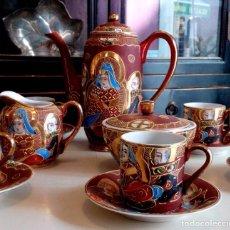 Antigüedades: JUEGO COMPLETO DE CAFE EN PORCELANA JAPONESA DE SATSUMA - SELLADO.. Lote 87463452