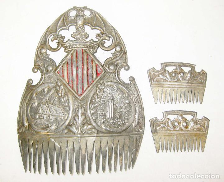 MUY RARAS ! PEINETAS EN COLOR PLATA ANTIGUAS VALENCIA FALLERA BARRACAS MIGULETE AZAHAR (Antigüedades - Moda - Peinetas Antiguas)