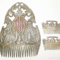 Antigüedades: MUY RARAS ! PEINETAS EN COLOR PLATA ANTIGUAS VALENCIA FALLERA BARRACAS MIGULETE AZAHAR. Lote 87509952