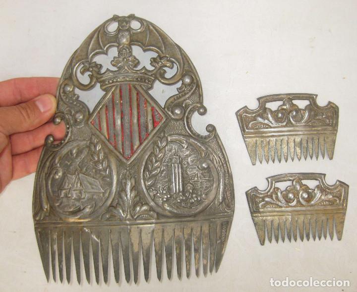 Antigüedades: MUY RARAS ! PEINETAS EN COLOR PLATA ANTIGUAS VALENCIA FALLERA BARRACAS MIGULETE AZAHAR - Foto 2 - 87509952