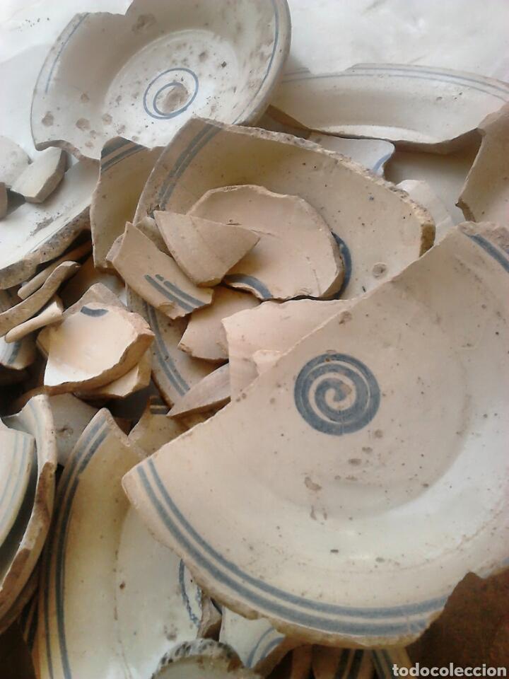 Antigüedades: Antiguos trozos, platos cerámica artesana,alfareros teruel,siglo XIX,ideal restauradores - Foto 7 - 111672008