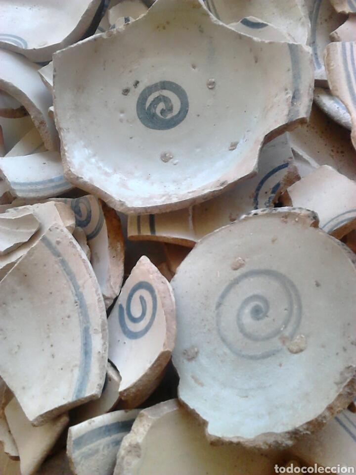 Antigüedades: Antiguos trozos, platos cerámica artesana,alfareros teruel,siglo XIX,ideal restauradores - Foto 9 - 111672008