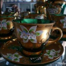 Antigüedades: JUEGO DE CAFÉ DE CRISTAL DE MURANO. Lote 87582540