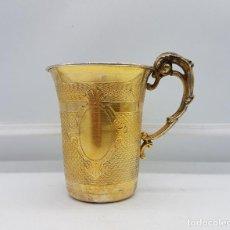 Antigüedades: BELLA TAZA EN PLATA DE LEY CONTRASTADA DE ESTILO VICTORIANO BELLAMENTE CINCELADA A MANO Y REPUJADA .. Lote 102837050