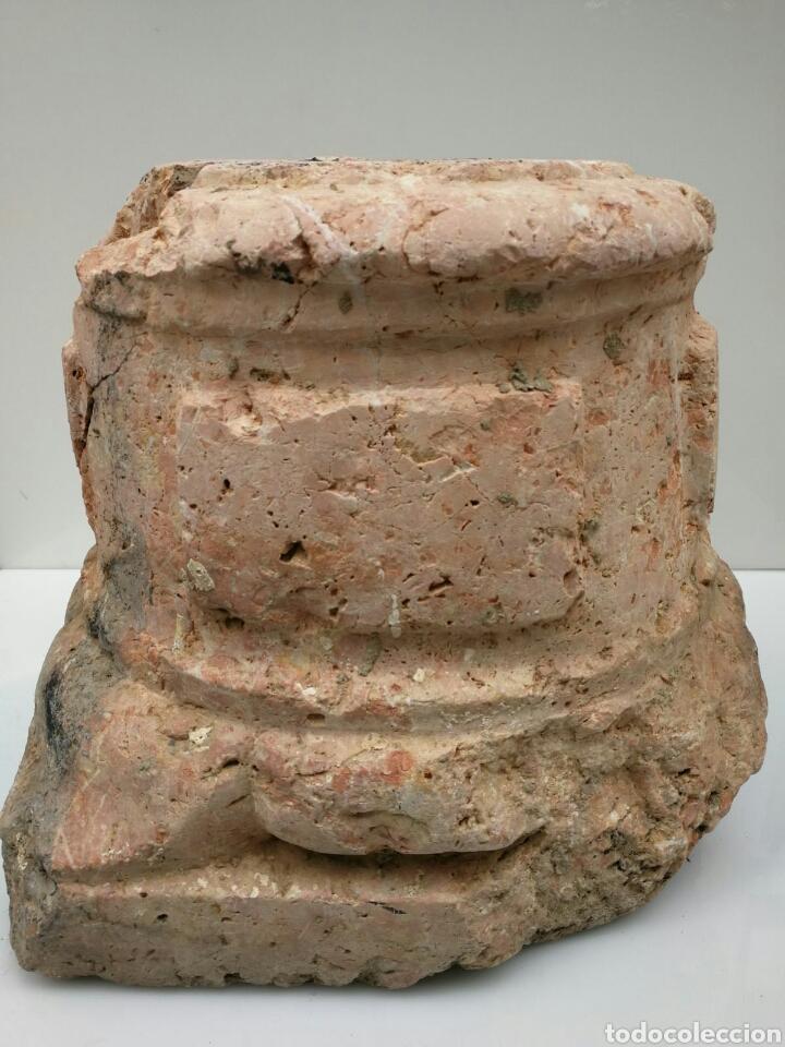 ANTIGUA BASE BASA DE COLUMNA MÁRMOL ROJO (Antigüedades - Varios)