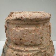 Antigüedades: ANTIGUA BASE BASA DE COLUMNA MÁRMOL ROJO . Lote 87591319