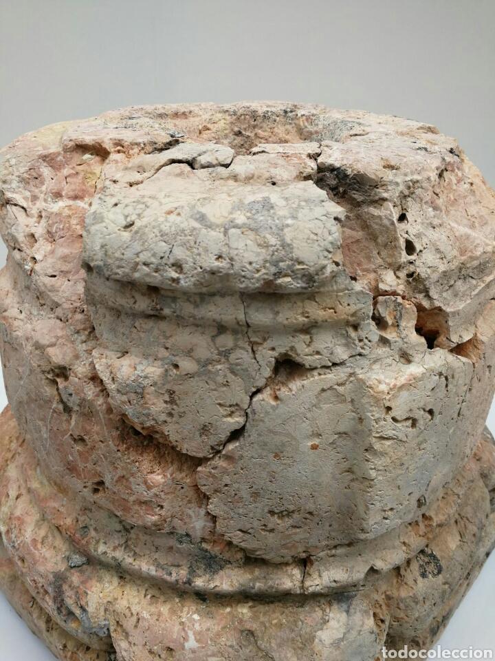 Antigüedades: ANTIGUA BASE BASA DE COLUMNA MÁRMOL ROJO - Foto 5 - 87591319