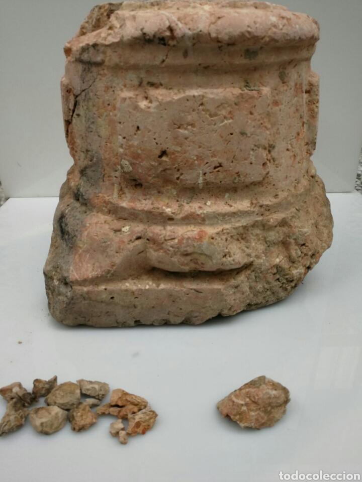 Antigüedades: ANTIGUA BASE BASA DE COLUMNA MÁRMOL ROJO - Foto 10 - 87591319