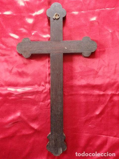 Antigüedades: Cruz filipina con incrustaciones de nácar. 46,5 cm. Siglo XIX. - Foto 9 - 87613588