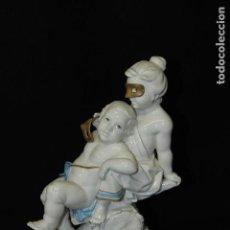 Antigüedades: AUTÉNTICA PORCELANA ALGORA DOCUMENTADA. FIGURA GÉMINIS. POCO FRECUENTE EN PERFECTO ESTADO.. Lote 87646236