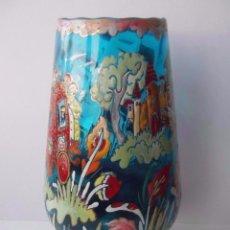 Antigüedades: ESPECTACULAR JARRON ESMALTADO DE CRISTAL DE CIRERA Y ROYO PERFECTO ESTADO . Lote 87648428