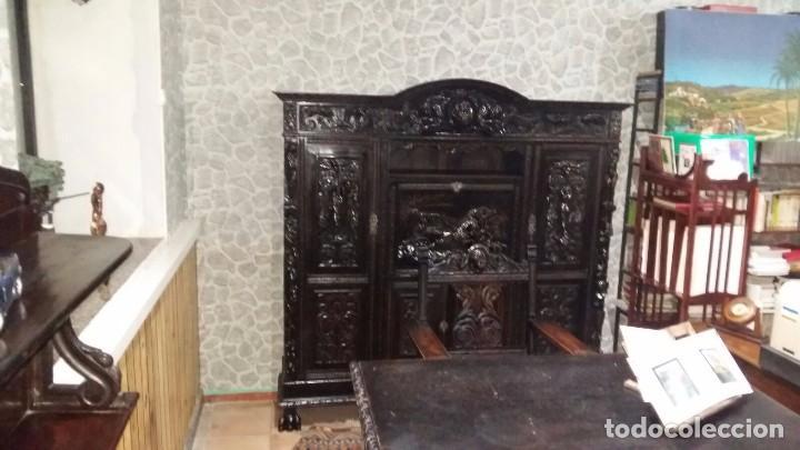 Antigüedades: Conjunto completo de despacho tallado en alto relieve - Foto 2 - 87652608