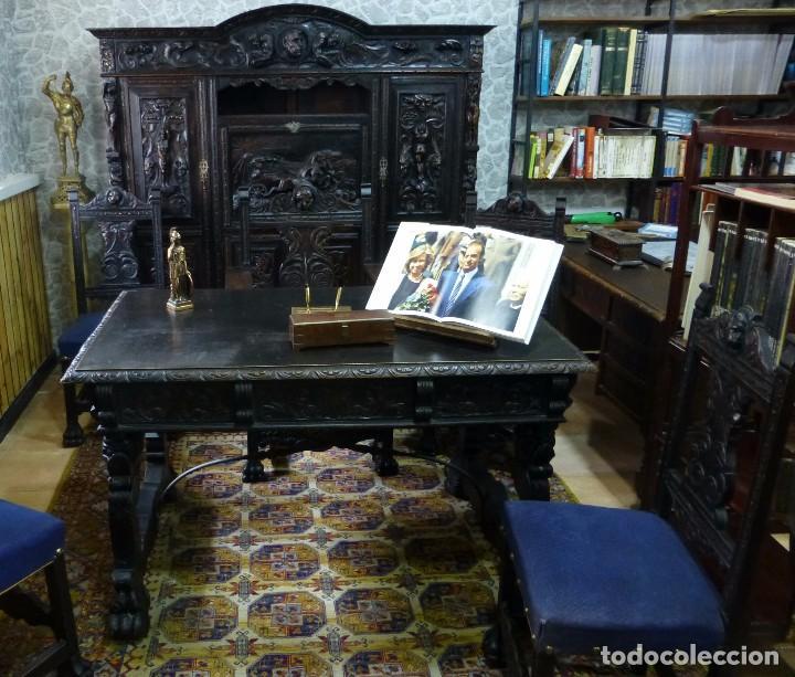 Antigüedades: Conjunto completo de despacho tallado en alto relieve - Foto 3 - 87652608