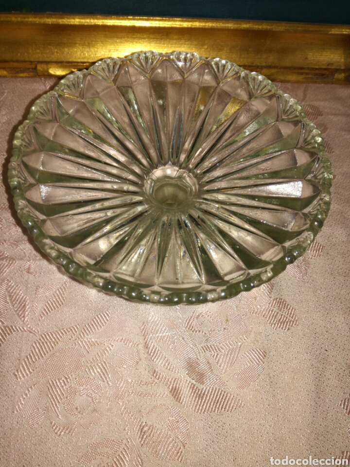 Antigüedades: Antiguo frutero de cristal prensado - Foto 3 - 87663184