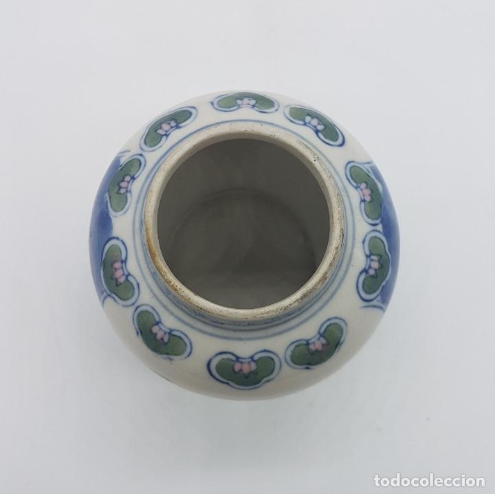 Antigüedades: Jarron antiguo en porcelana china con motivos de pajaritos y flores pintados. - Foto 5 - 87671372