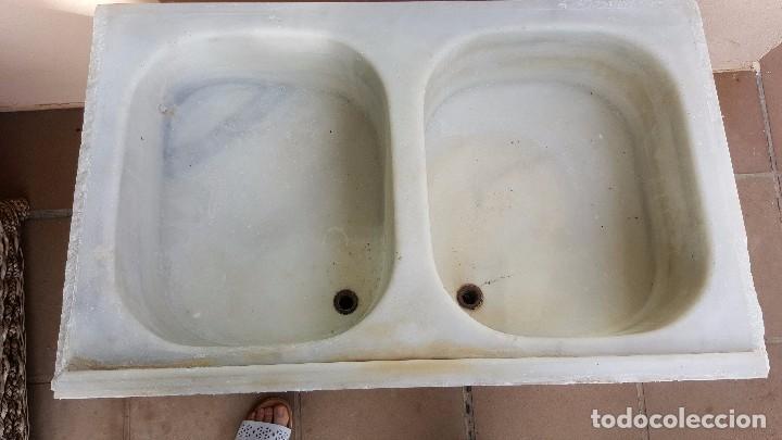 antigedades antigua pica pila fregadero de marmol blanco doble con senos x