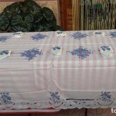 Antigüedades: PRECIOSA MANTELERIA DE 12 SERVICIOS. Lote 87700632