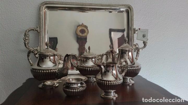JUEGO DE CAFÉ Y TÉ DE PLATA DE LEY (Antigüedades - Platería - Plata de Ley Antigua)