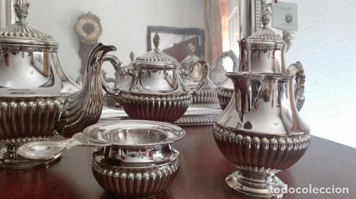 Antigüedades: juego de café y té de plata de ley - Foto 5 - 87720624