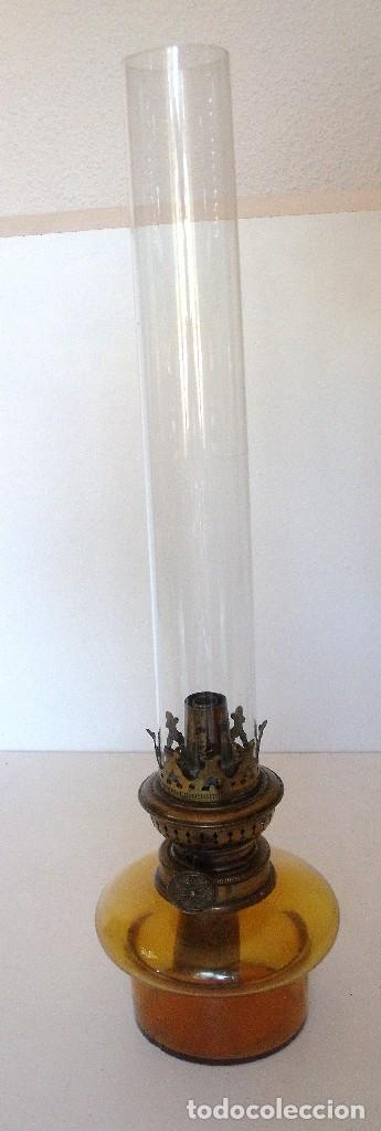 ANTIGUO QUINQUÉ DE PETROLEO. CRISTAL Y LATÓN DORADO. CA. 1900/1920 (Antigüedades - Iluminación - Quinqués Antiguos)