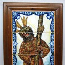 Antigüedades: 53 CM - RETABLO AZULEJOS CERAMICO GRANDE - JESUS CRISTO DEL GRAN PODER - TRIANA SEVILLA - ENMARCADO. Lote 87890232