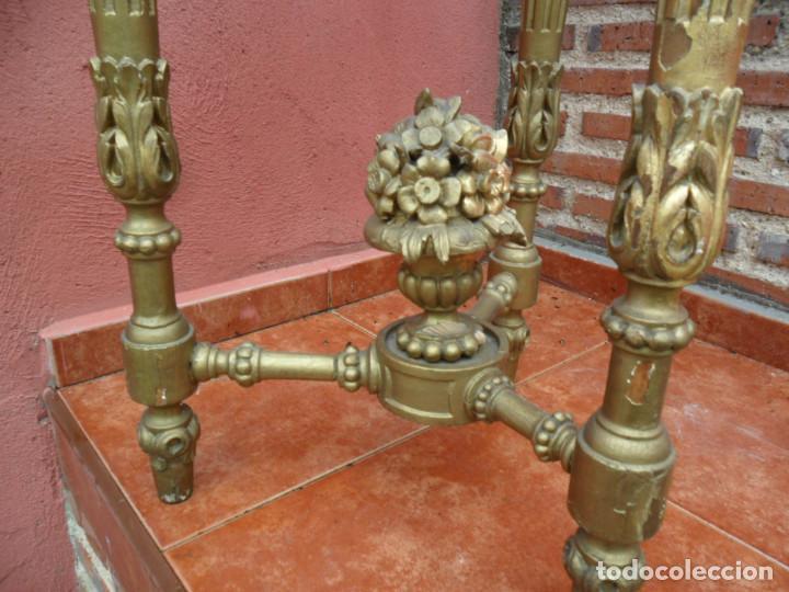 Antigüedades: CONSOLA EN MADERA TALLADA Y ACABADO EN PAN DE ORO SIGLO XVIII - Foto 4 - 87912324