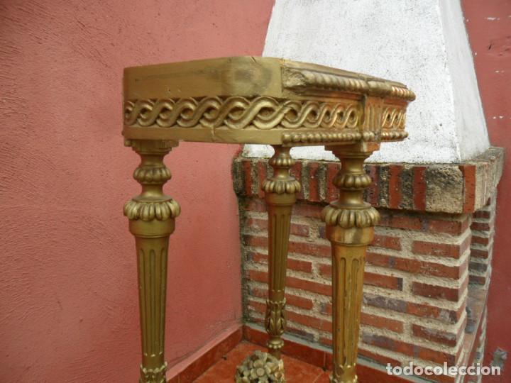 Antigüedades: CONSOLA EN MADERA TALLADA Y ACABADO EN PAN DE ORO SIGLO XVIII - Foto 5 - 87912324