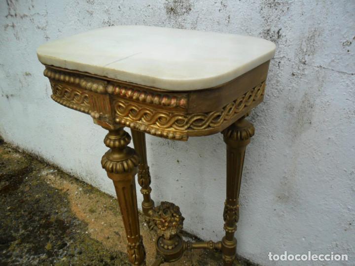 Antigüedades: CONSOLA EN MADERA TALLADA Y ACABADO EN PAN DE ORO SIGLO XVIII - Foto 6 - 87912324