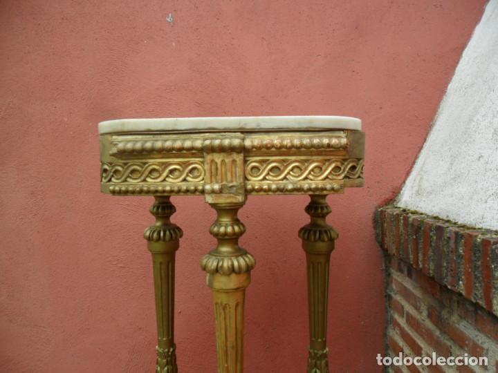 Antigüedades: CONSOLA EN MADERA TALLADA Y ACABADO EN PAN DE ORO SIGLO XVIII - Foto 9 - 87912324