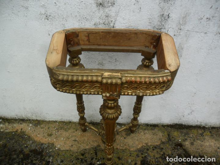 Antigüedades: CONSOLA EN MADERA TALLADA Y ACABADO EN PAN DE ORO SIGLO XVIII - Foto 13 - 87912324