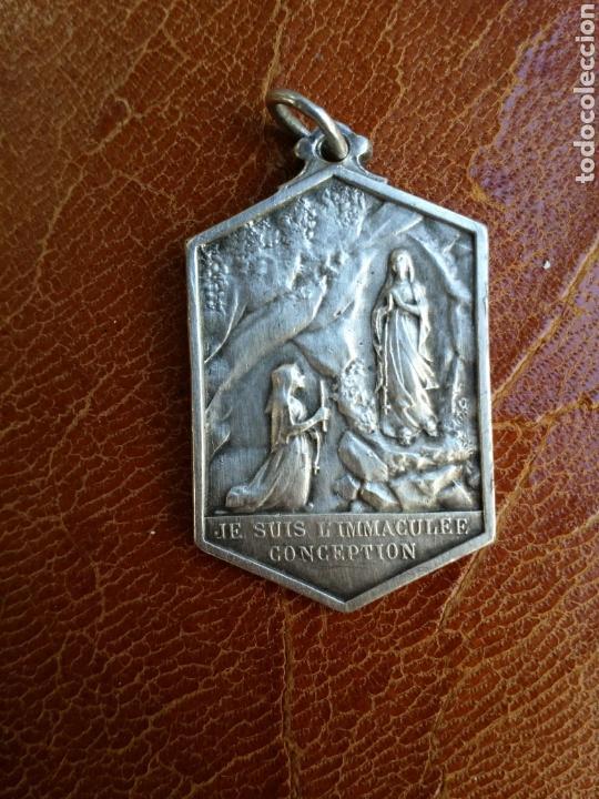 ANTIGUA MEDALLA DE PLATA DE LA INMACULADA CONCEPCIÓN SIGLO XIX (Antigüedades - Religiosas - Medallas Antiguas)