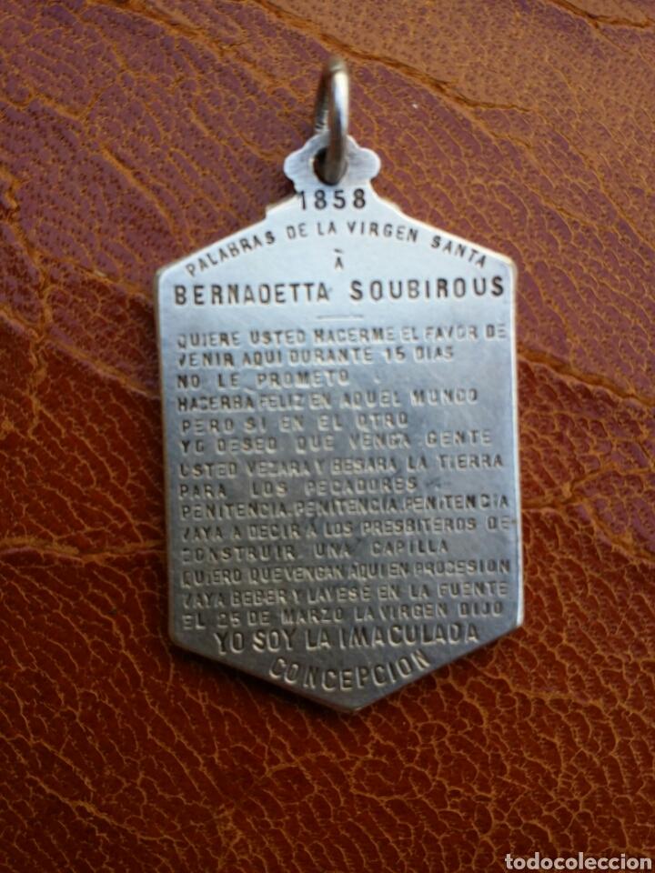 Antigüedades: ANTIGUA MEDALLA DE PLATA DE LA INMACULADA CONCEPCIÓN SIGLO XIX - Foto 2 - 88109002