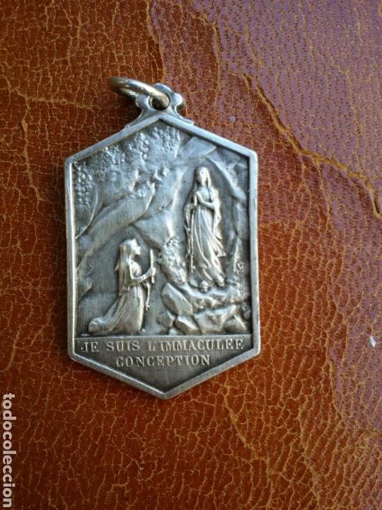 Antigüedades: ANTIGUA MEDALLA DE PLATA DE LA INMACULADA CONCEPCIÓN SIGLO XIX - Foto 3 - 88109002