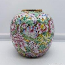 Antigüedades: PRESIOSO JARRÓN ANTIGUO DE PORCELANA CHINA PINTADO A MANO Y SELLADO.. Lote 88118816