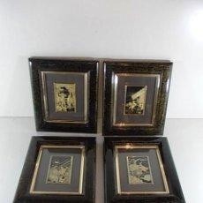 Antigüedades: LOTE DE 4 CUADROS DAMASQUINADOS TOLEDANOS EN ORO Y PLATA DIFERENTES ESCENAS DEL QUIJOTE. Lote 88150592