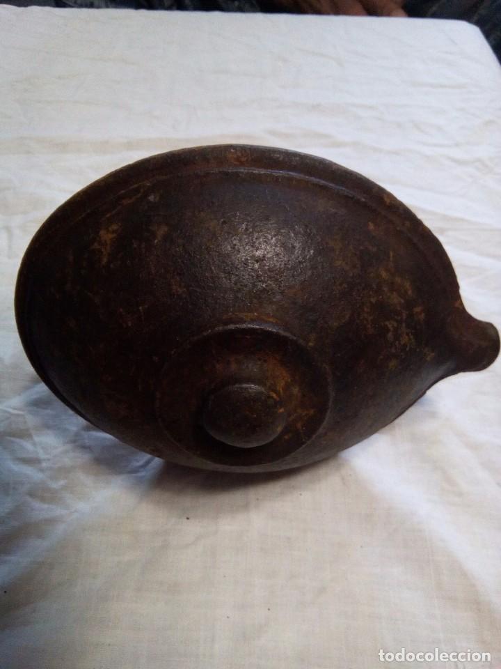 Antigüedades: Antiguo candil o lamparilla de aceite en hierro gancho para colgar - Foto 3 - 88152260