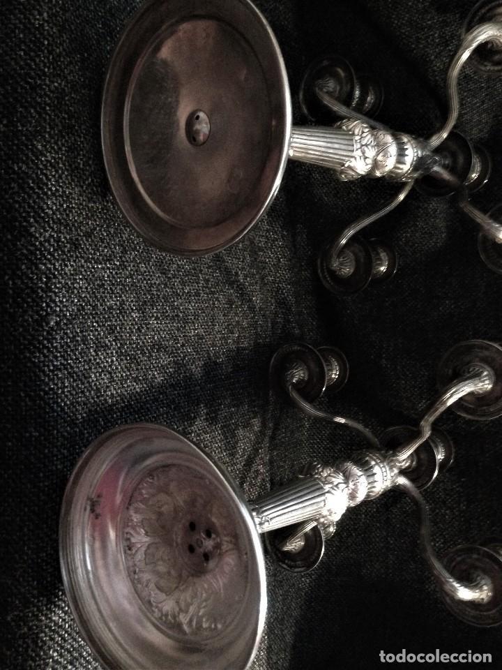 Antigüedades: extraordinaria pareja de candelabros de gala, estilo frances, en plata 925 - Foto 13 - 88158224