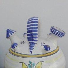 Antigüedades: BOTIJO ANTIGUO PUENTE DEL ARZOBISPO 33 CMS. DE ALTURA . Lote 88309800