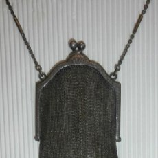 Antiquitäten - Bolso de noche amaricano art decó, baño de plata y micro malla. Perfecto. Opera, fiesta, boda, novia - 88343916